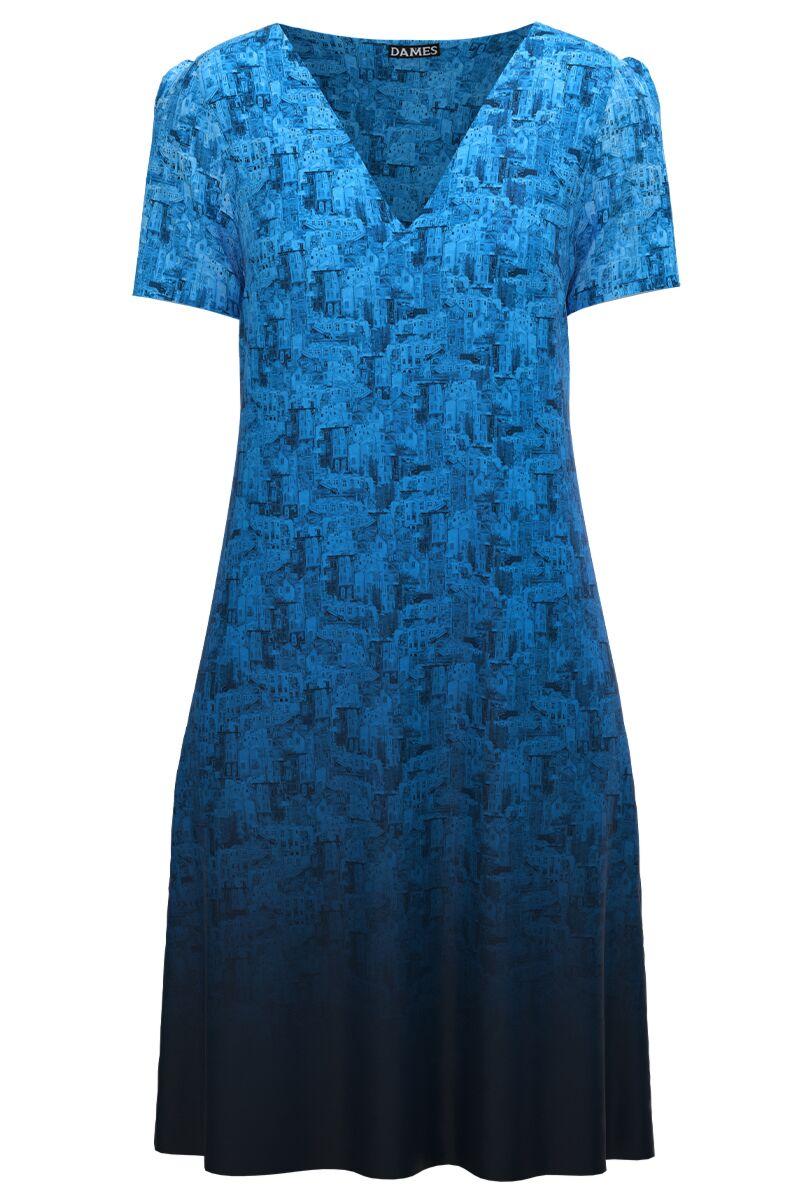 Rochie casual lejera de vara imprimată Albastru degrade CMD997