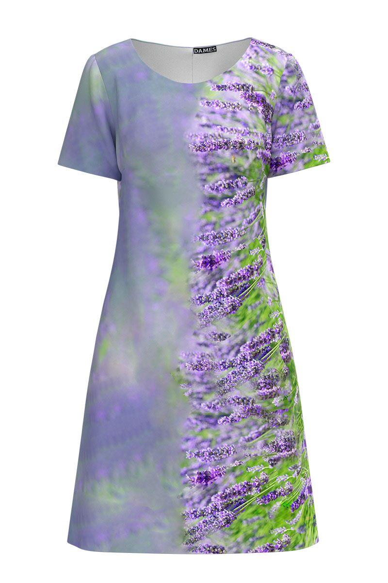 Rochie DAMES  casual lila cu imprimeu digital Lavanda