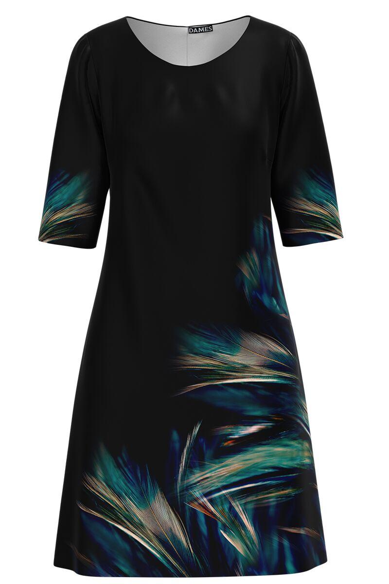 Rochie casual neagra cu imprimeu multicolor CMD1479
