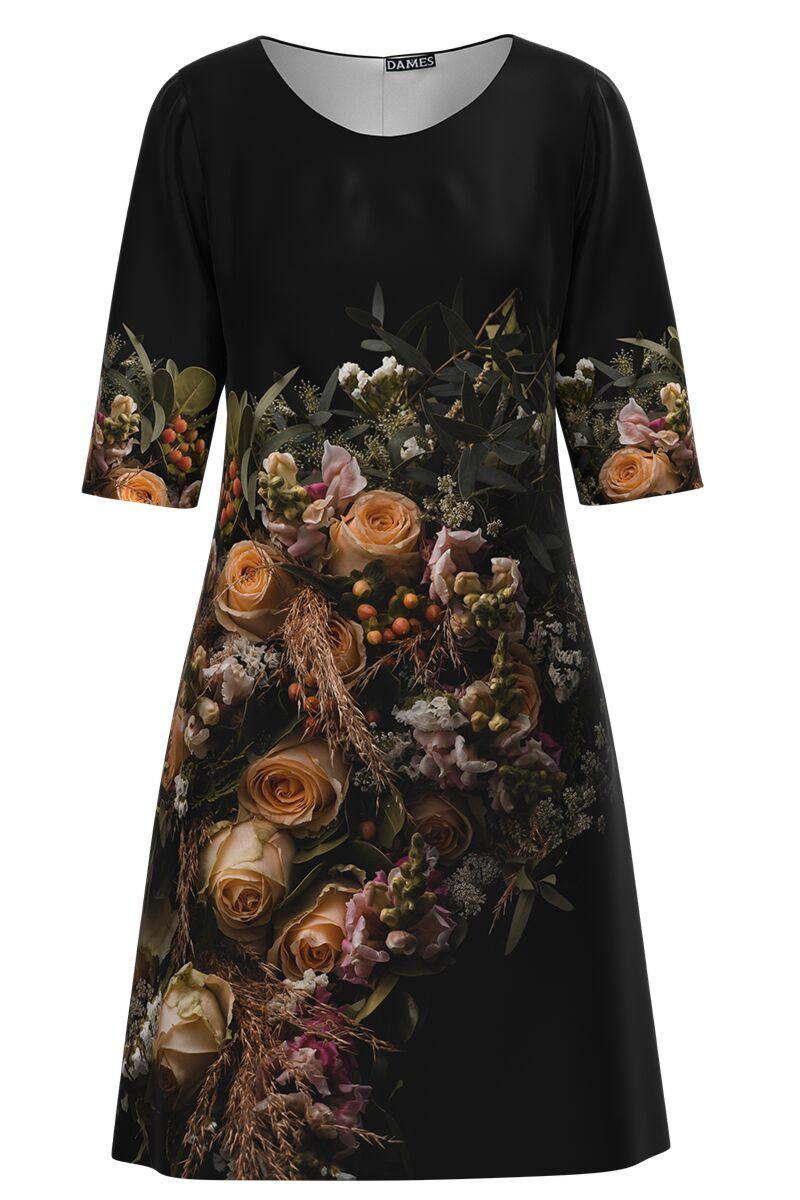 Rochie DAMES  casual neagra cu imprimeu trandafiri