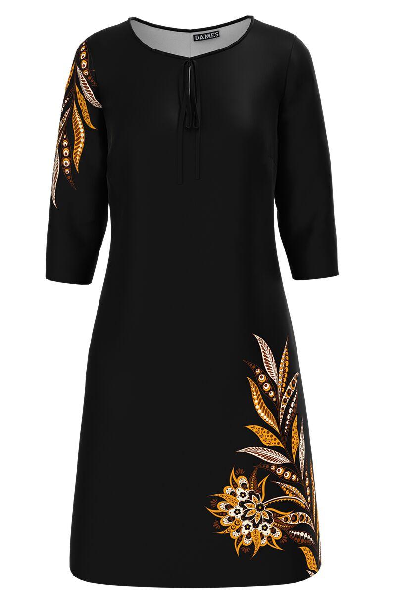 Rochie dames  casual neagra imprimata cu model floral traditional
