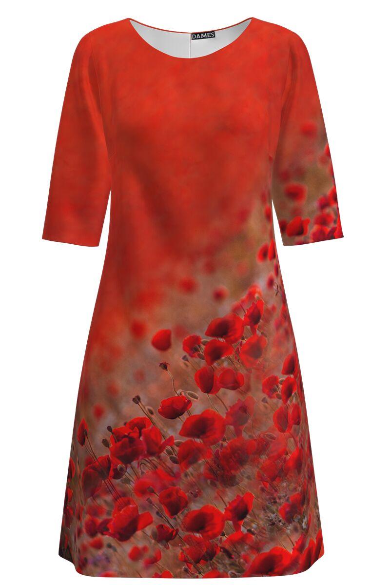 Rochie DAMES  casual rosu corai imprimata maci