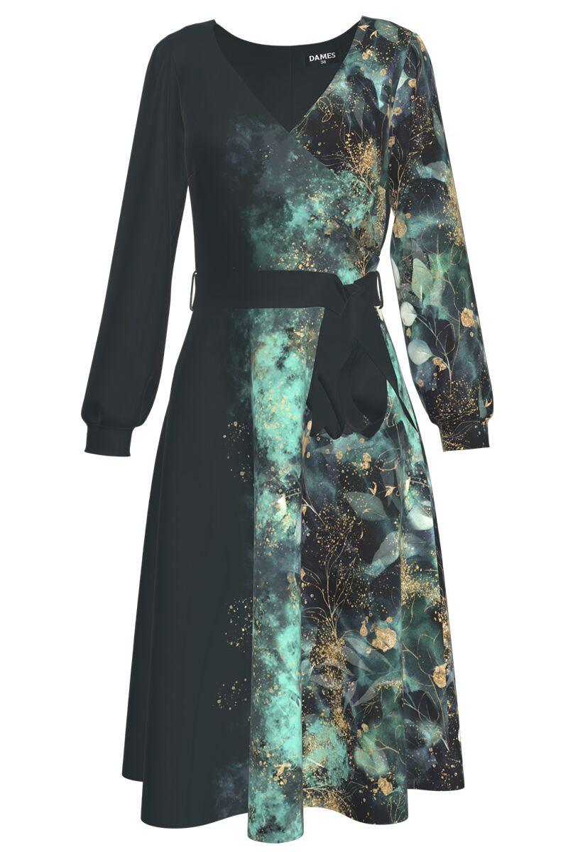 rochie DAMES cu maneca lunga si accente eturcuaz