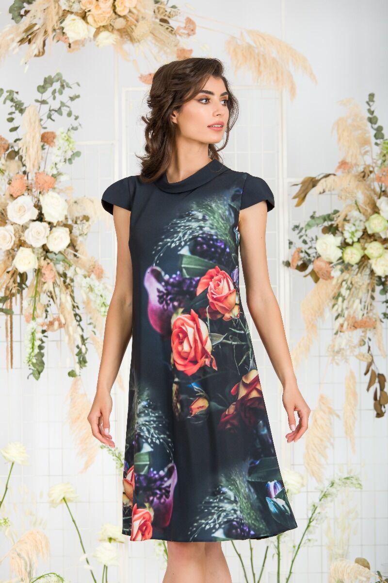 Rochie  DAMES cu guler tip bărcuţă şi imprimeu digital floral