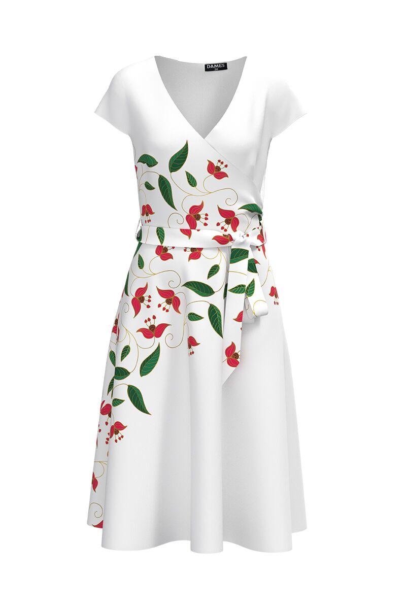Rochie DAMES alba de zi cu maneca scurta si imprimeu digital floral