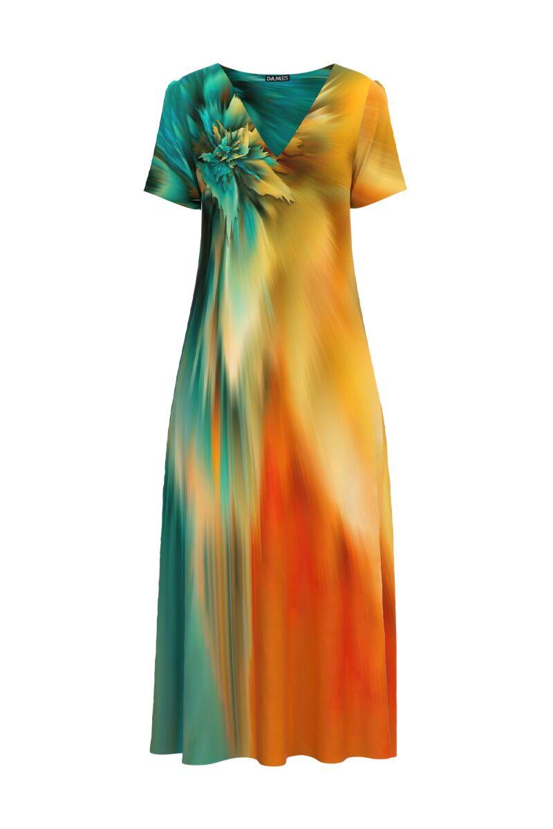 Rochie DAMES  de vara lunga cu buzunare imprimata digital Multicolora