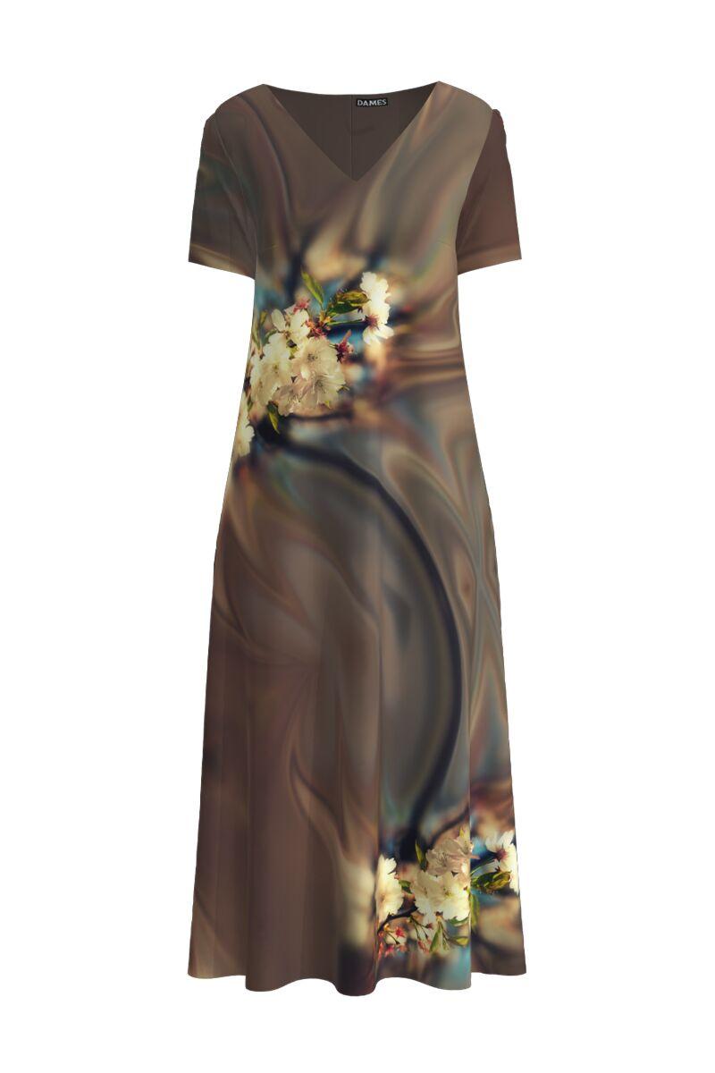 Rochie DAMES de vara maro lunga cu buzunare imprimata digital Floral