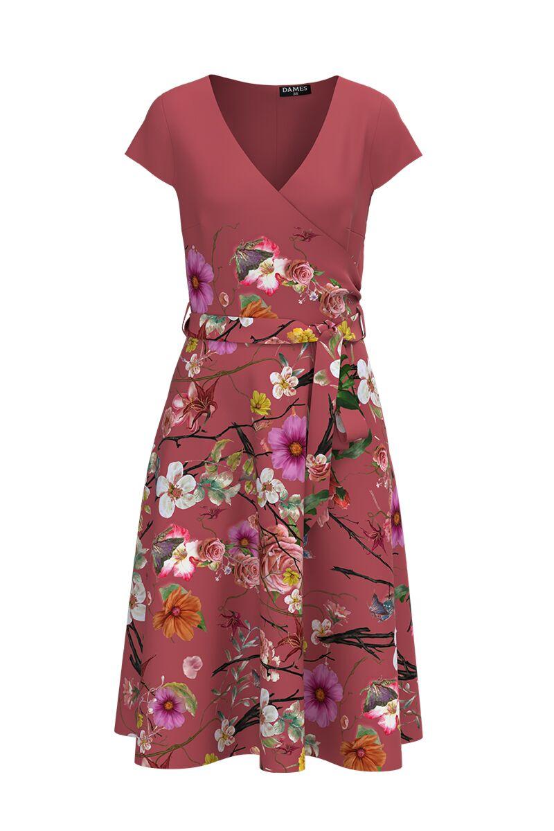 Rochie DAMES de zi cu maneca scurta si imprimeu digital floral în contrast