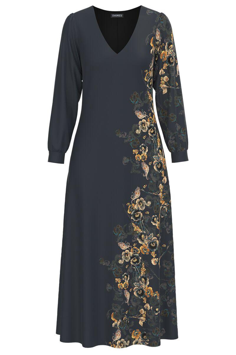 Rochie DAMES  eleganta antracit cu maneca lunga si imprimeu Floral