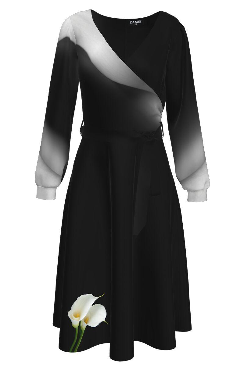 Rochie DAMES  eleganta cu maneca lunga  imprimata Cale