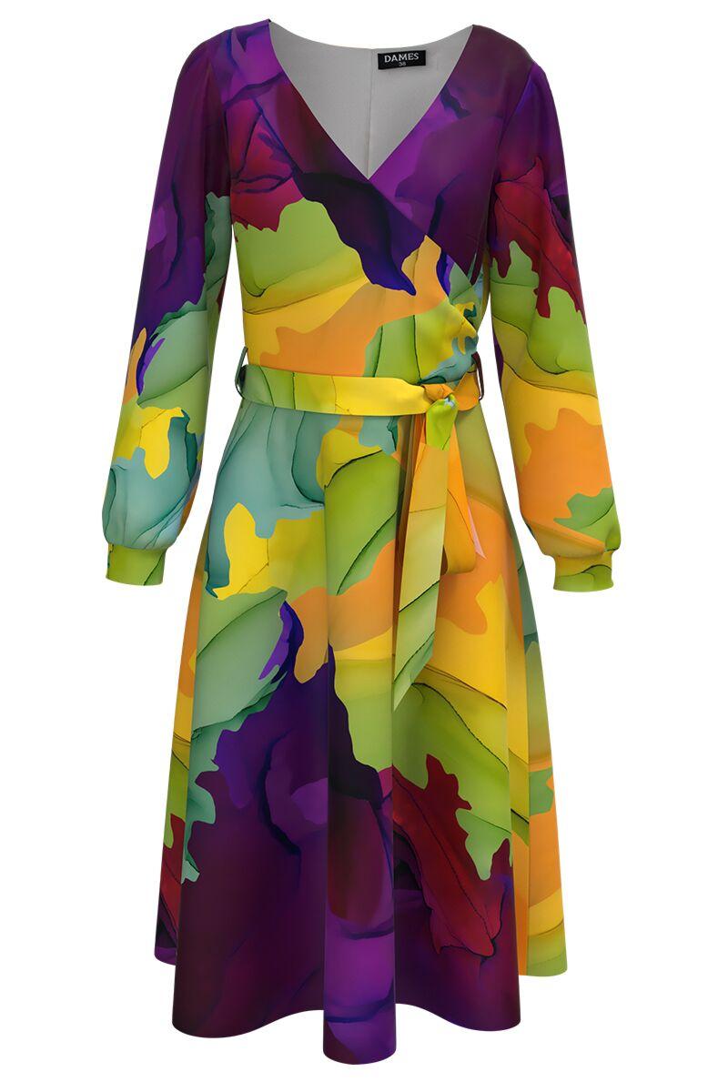 Rochie DAMES  eleganta cu maneca lunga  imprimata multicolor