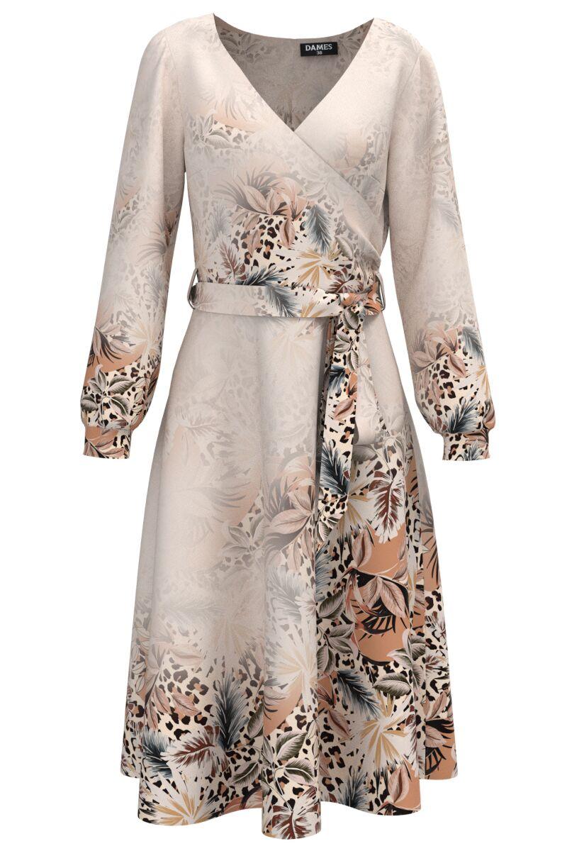 Rochie eleganta cu maneca lunga si imprimeu floral CMD1476
