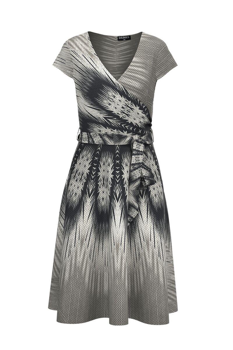Rochie DAMES eleganta, de vara,in nuante de gri cu maneca scurta si imprimeu abstract
