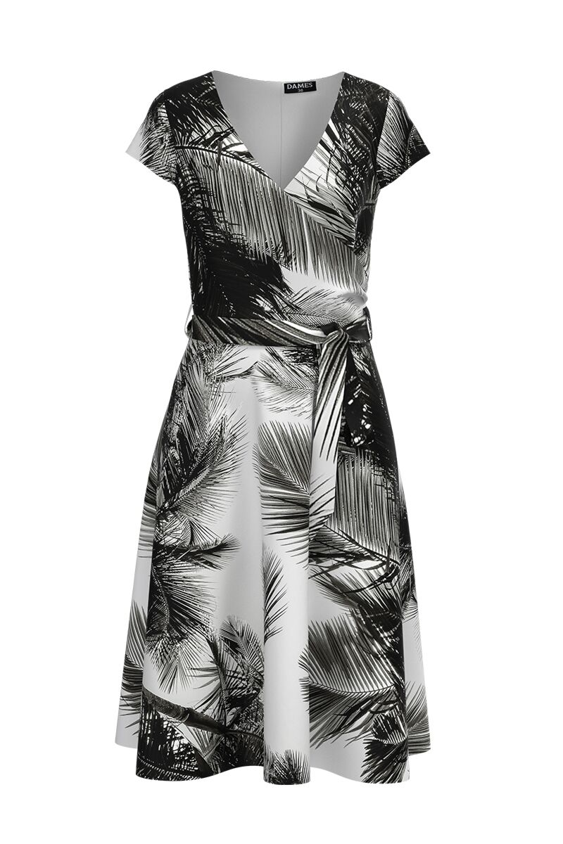 Rochie  DAMES eleganta, de vara, cu maneca scurta si imprimeu alb negru