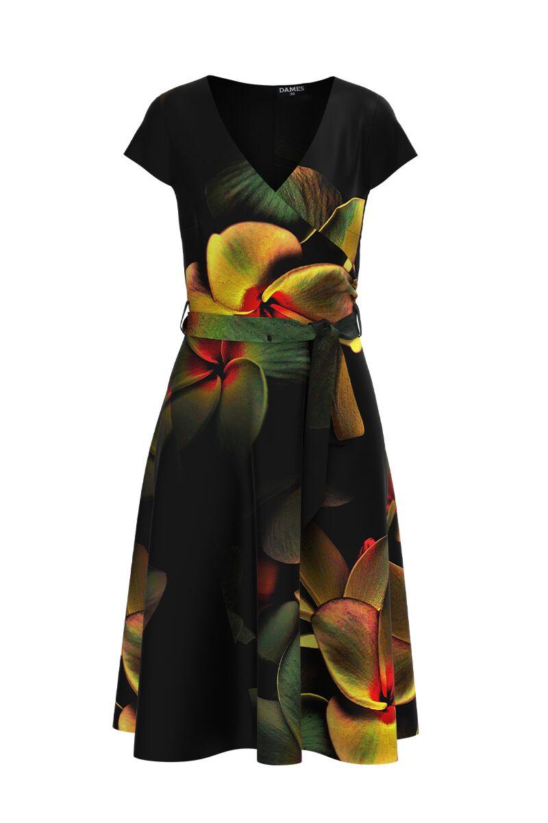 Rochie  DAMES eleganta, de vara, cu maneca scurta si imprimeu floral