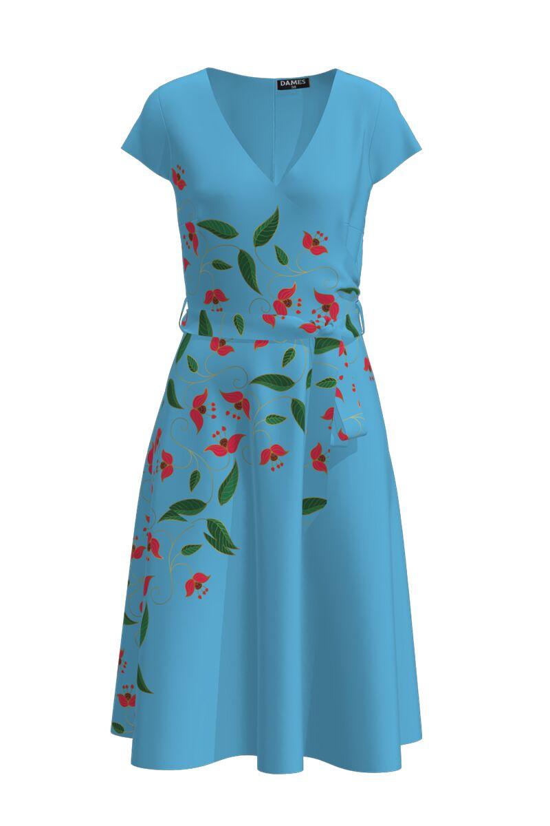 Rochie casual de vara cu maneca scurta si imprimeu Floral CMD908