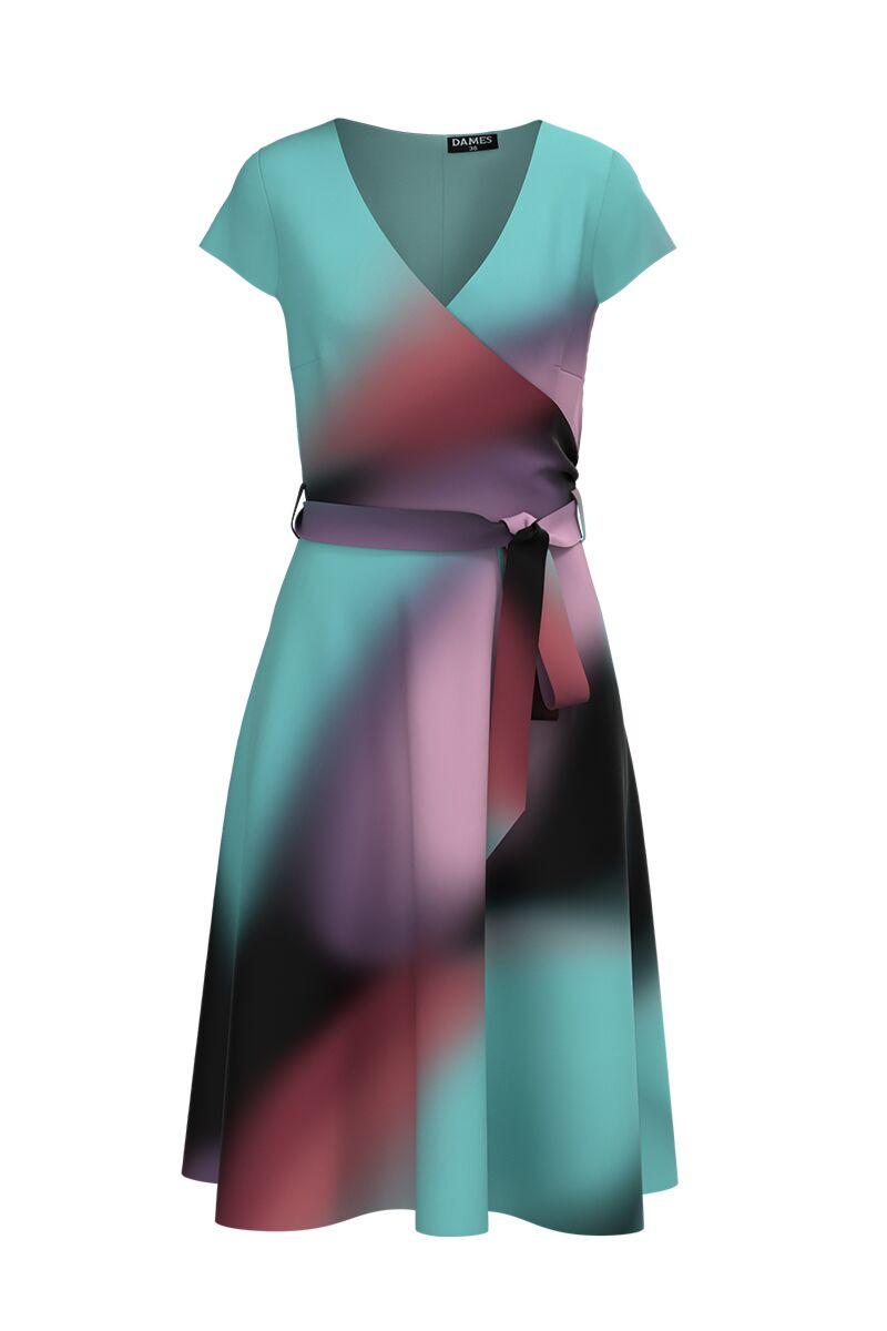 Rochie  DAMES eleganta, de vara, cu maneca scurta si imprimeu multicolor