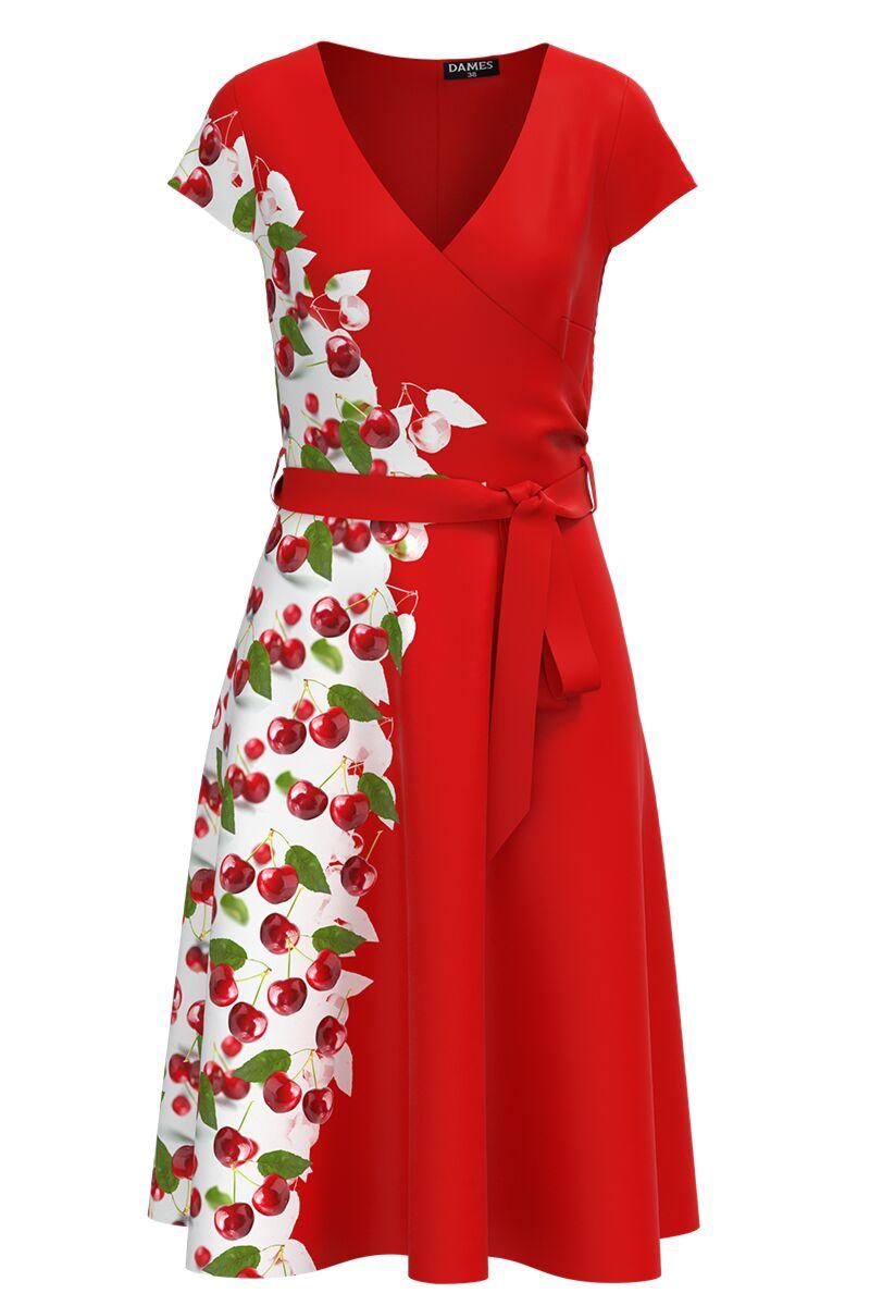 Rochie rosie casual de vara cu maneca scurta si imprimeu Cirese CMD989