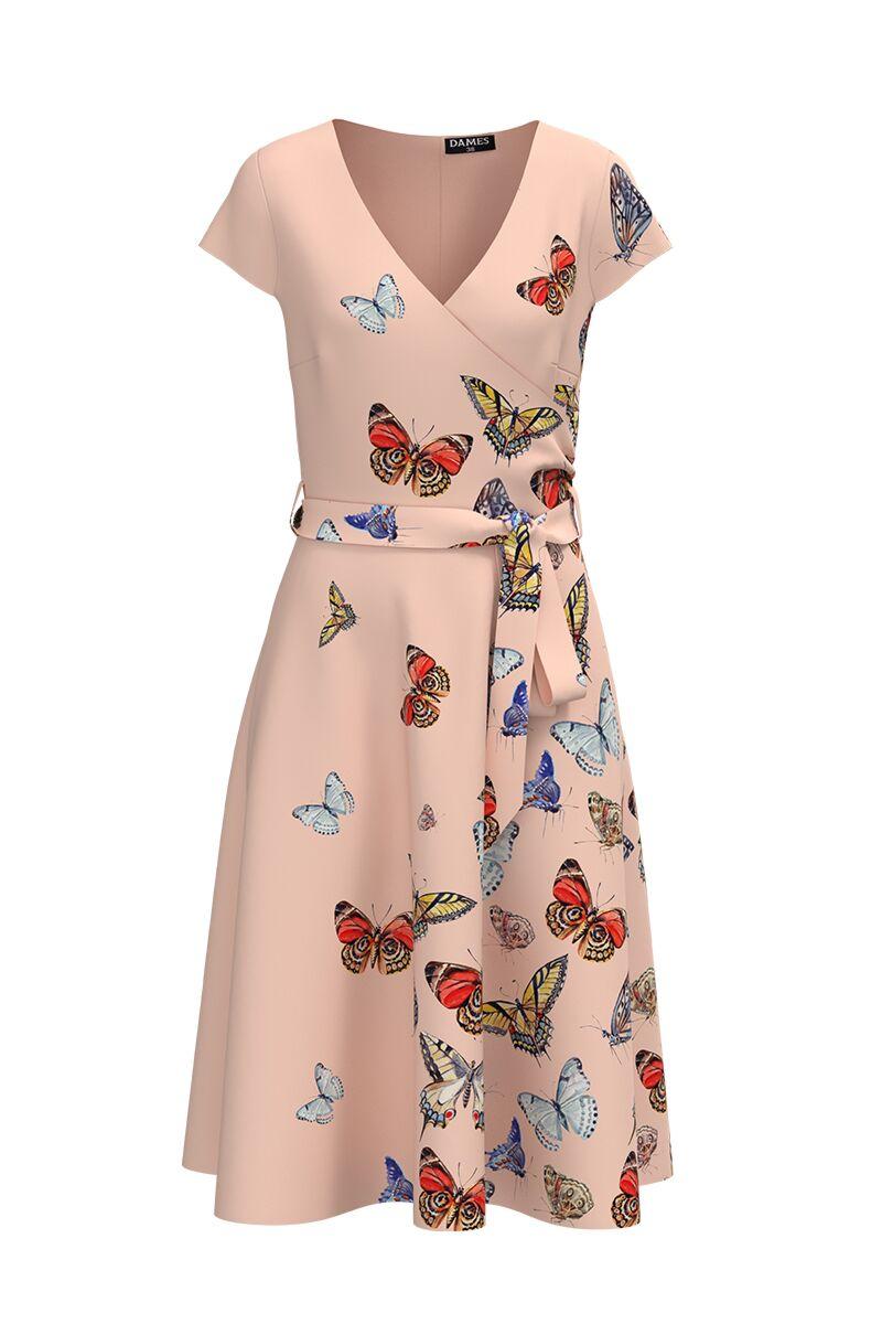 Rochie DAMES eleganta roz, de vara, cu maneca scurta si imprimeu fluturi