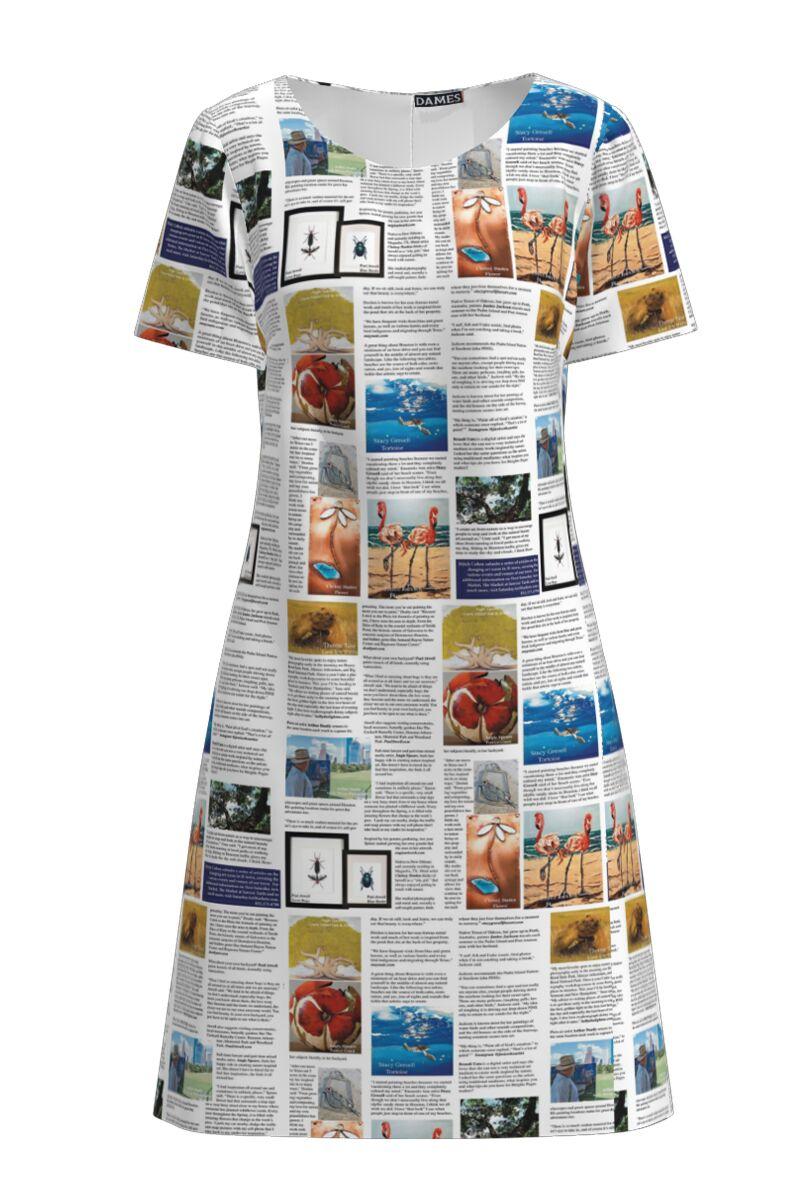 Rochie dames evazata ziar color imprimata digital