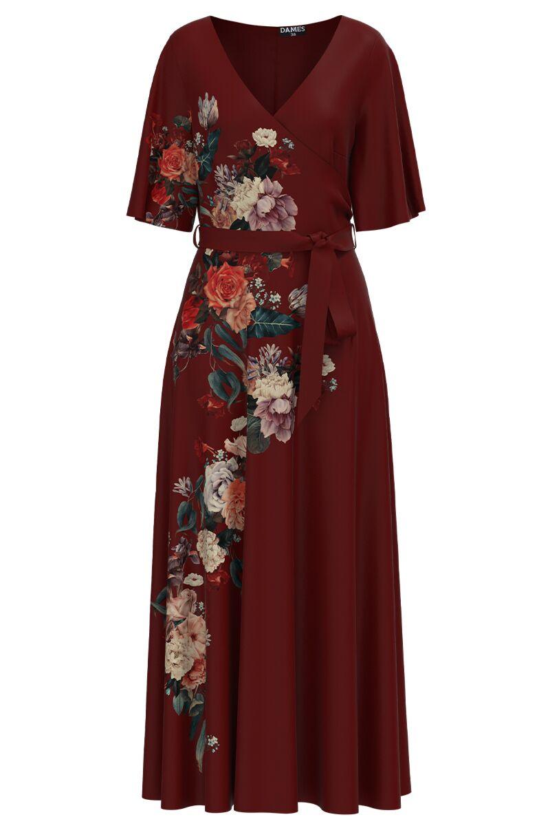 Rochie grena lunga eleganta de seara imprimata digital cu model Floral CMD1056