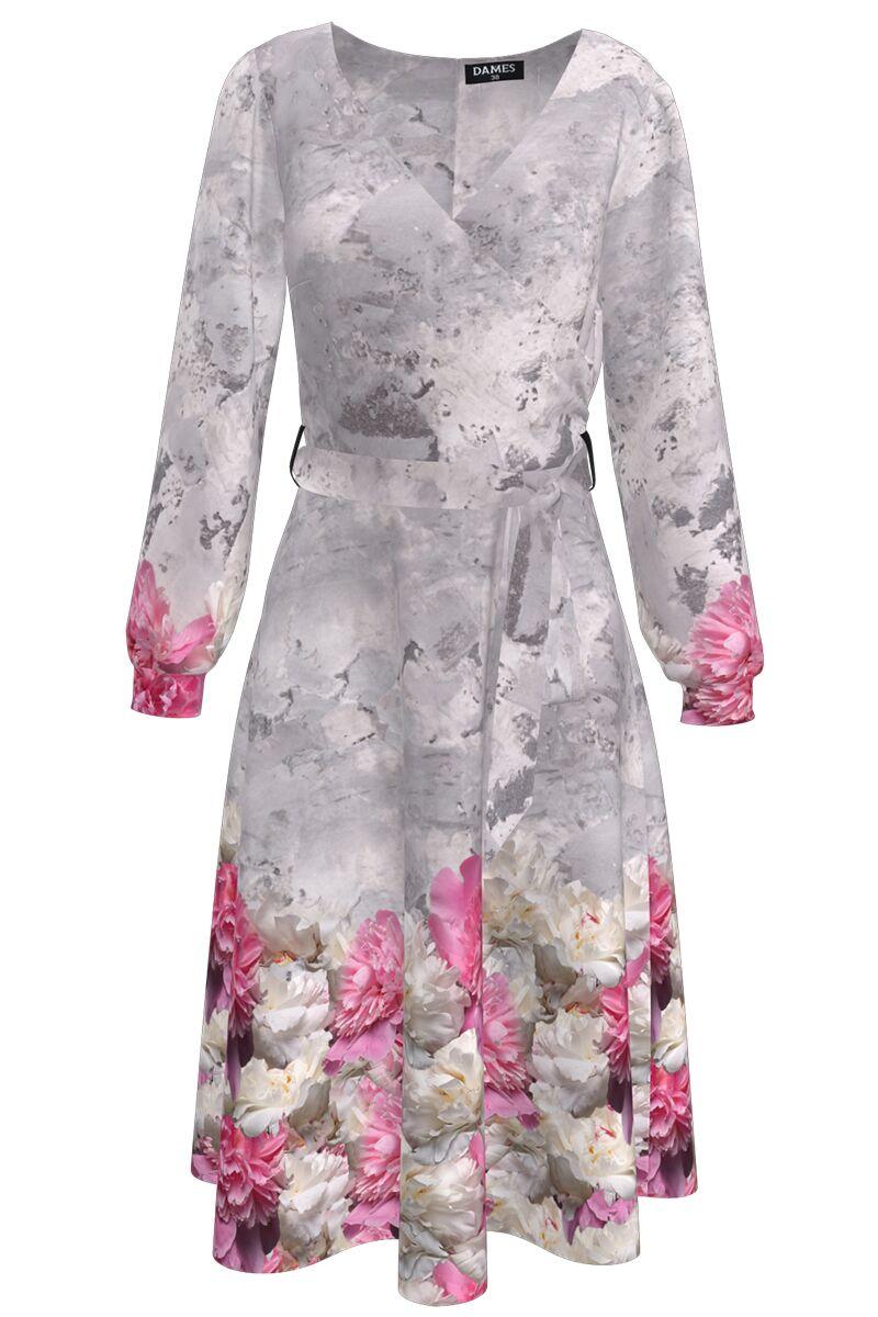 Rochie DAMES  gri eleganta cu maneca lunga si imprimeu floral