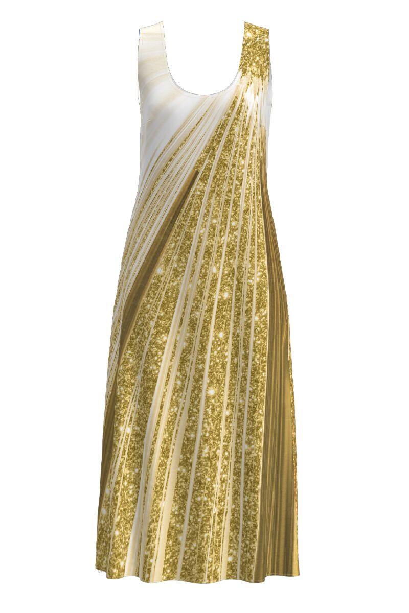 Rochie DAMES  lunga casual de vara cu buzunare imprimata in nuante aurii