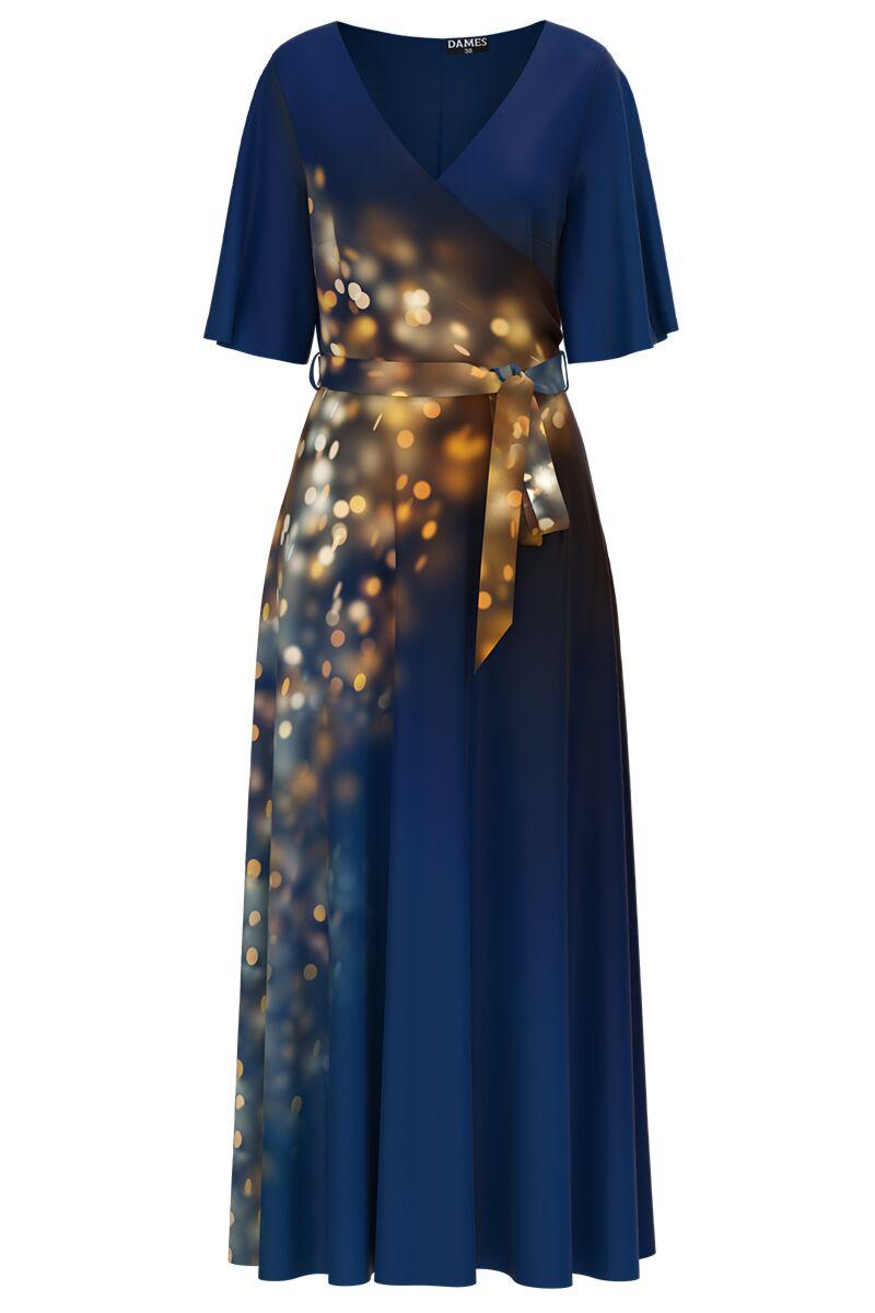 Rochie DAMES  albastra lunga eleganta de seara imprimata sclipiri