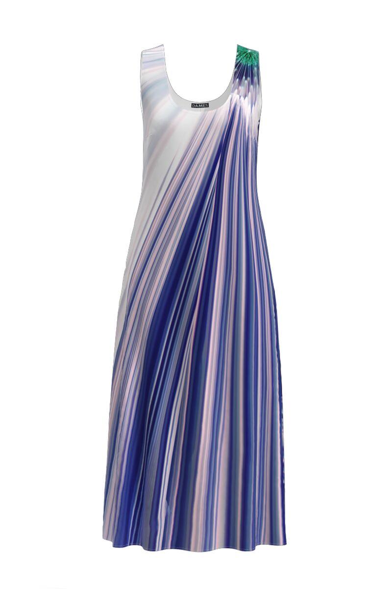 Rochie lunga casual de vara cu buzunare, imprimata  in nuante de albastru CMD905