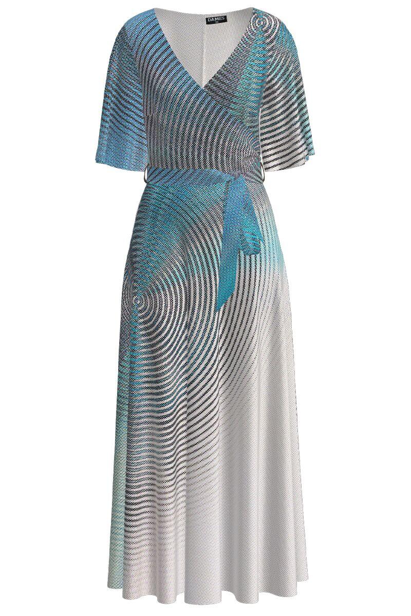 Rochie lunga eleganta de seara imprimata digital cu model abstract CMD1052