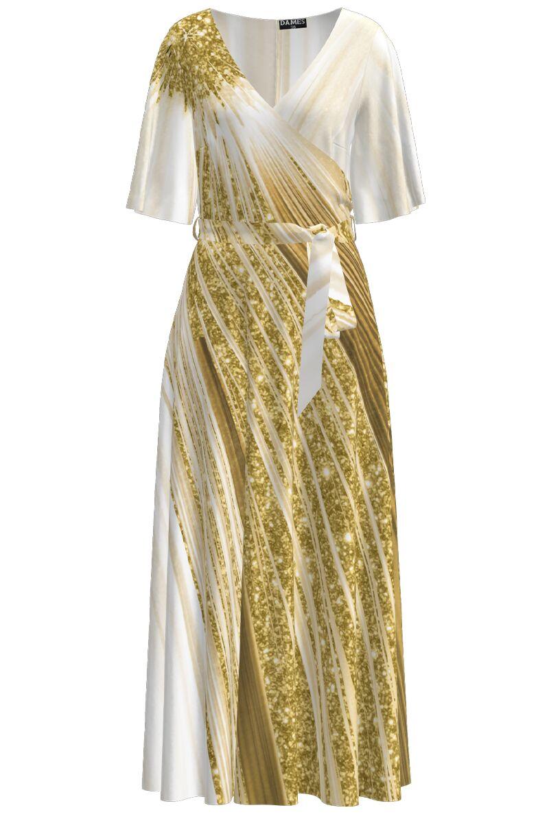 Rochie lunga eleganta de seara imprimata digital cu model auriu CMD1068