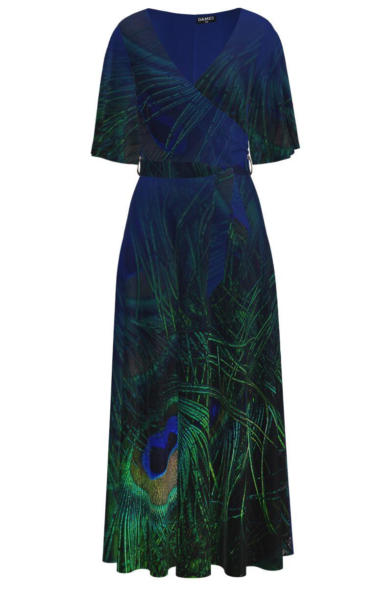 Rochie lunga eleganta de seara imprimata digital cu model Paun CMD1053