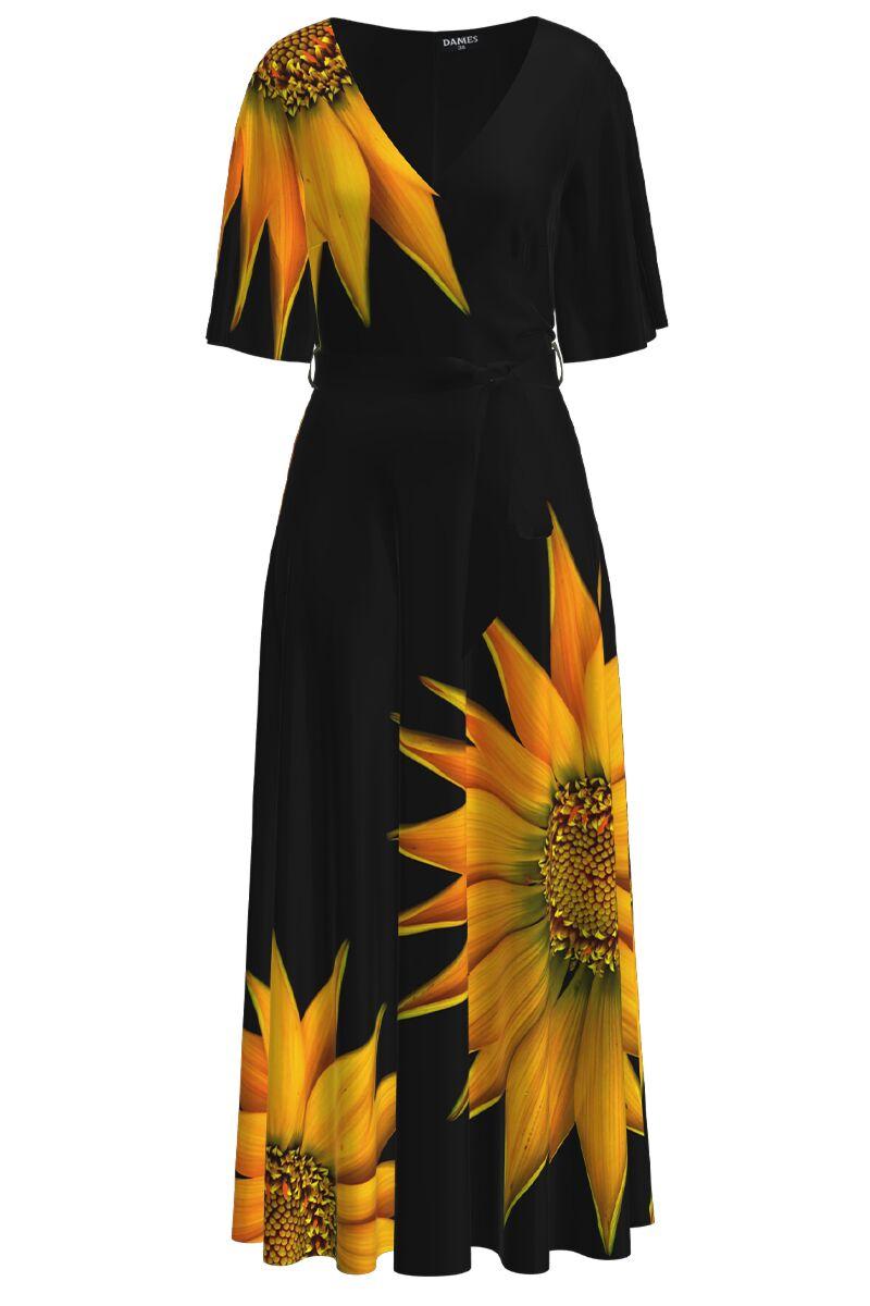 Rochie DAMES  lunga eleganta de seara imprimata digital Floarea soarelui