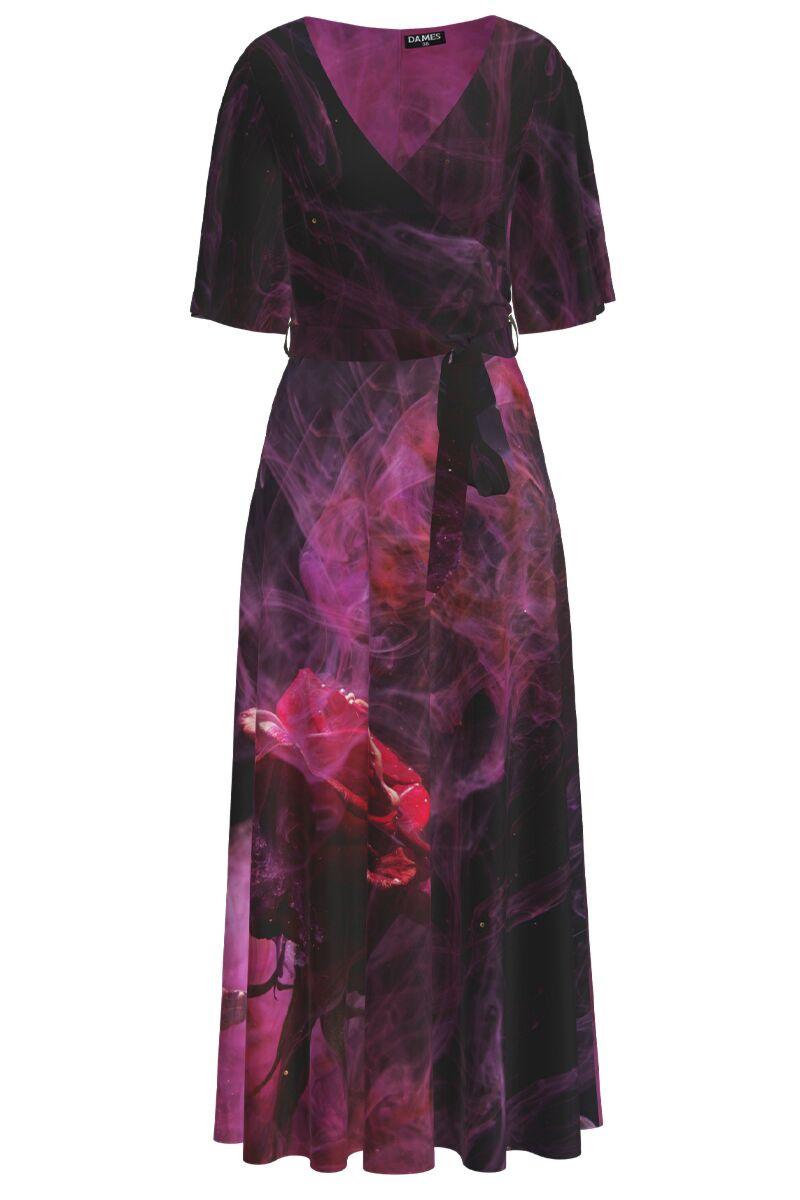 Rochie lunga eleganta de seara imprimata digital Trandafir CMD1051