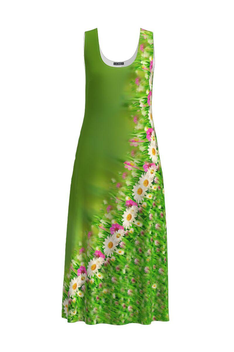 Rochie lunga verde casual de vara cu buzunare, imprimata floral CMD906