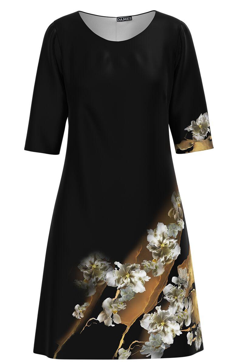 Rochie DAMES  neagra casual cu maneca imprimata digital cu model floral