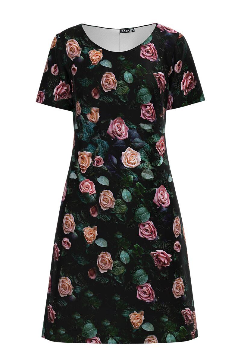 Rochie  DAMES neagra casual cu maneca scurta imprimata digital cu model trandafiri