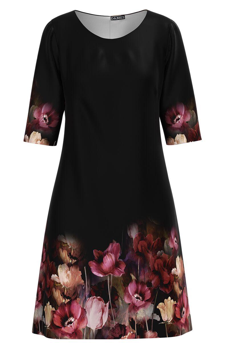 Rochie DAMES casual neagra cu imprimeu floral