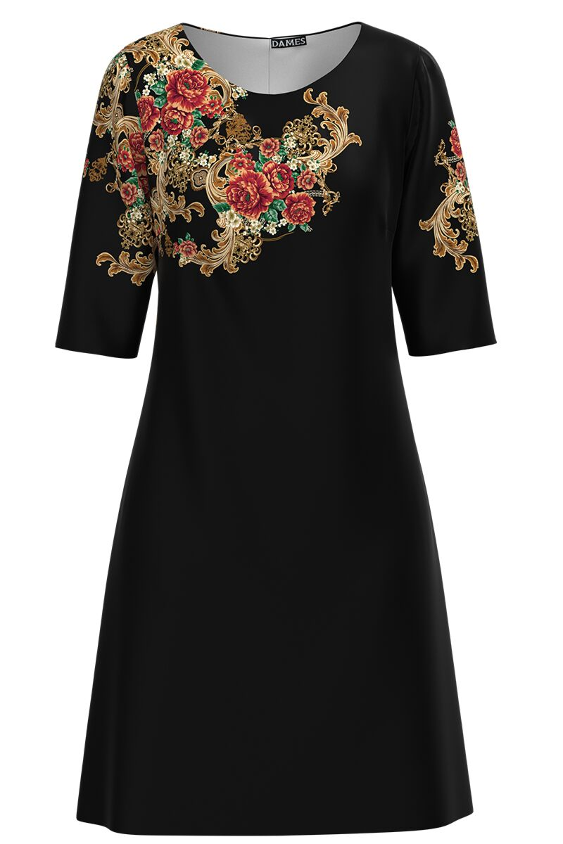 Rochie DAMES neagra cu imprimeu floral