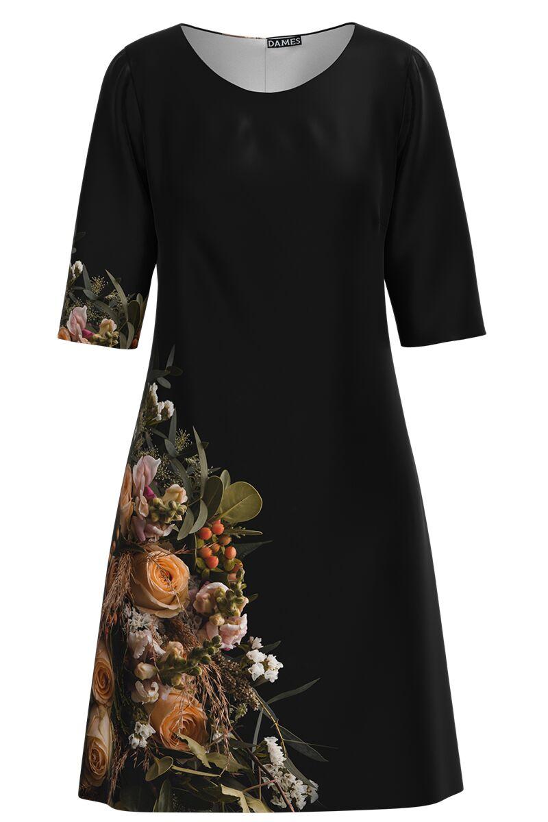 Rochie DAMES neagra cu imprimeu trandafiri