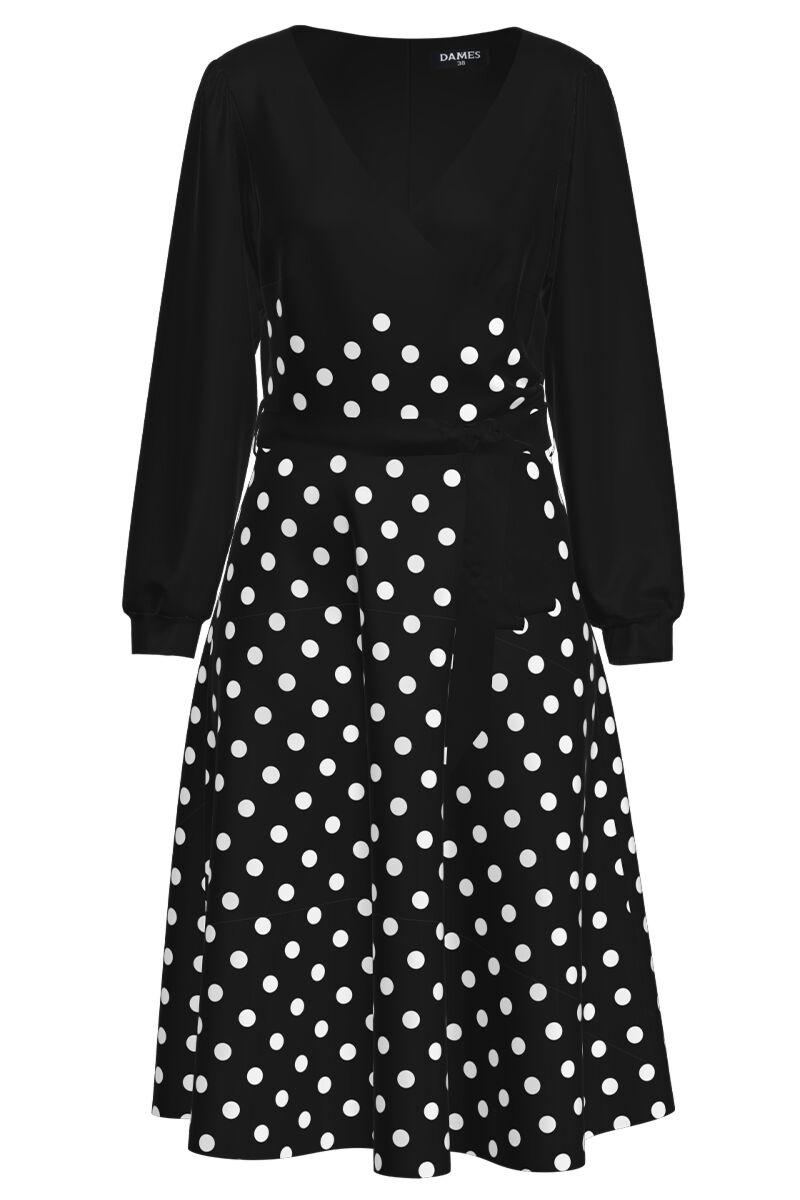 Rochie neagra eleganta cu maneca lunga imprimata buline CMD1475