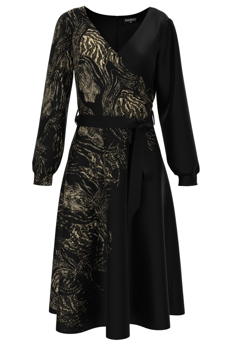 Rochie neagra eleganta cu maneca lunga animal print CMD1477