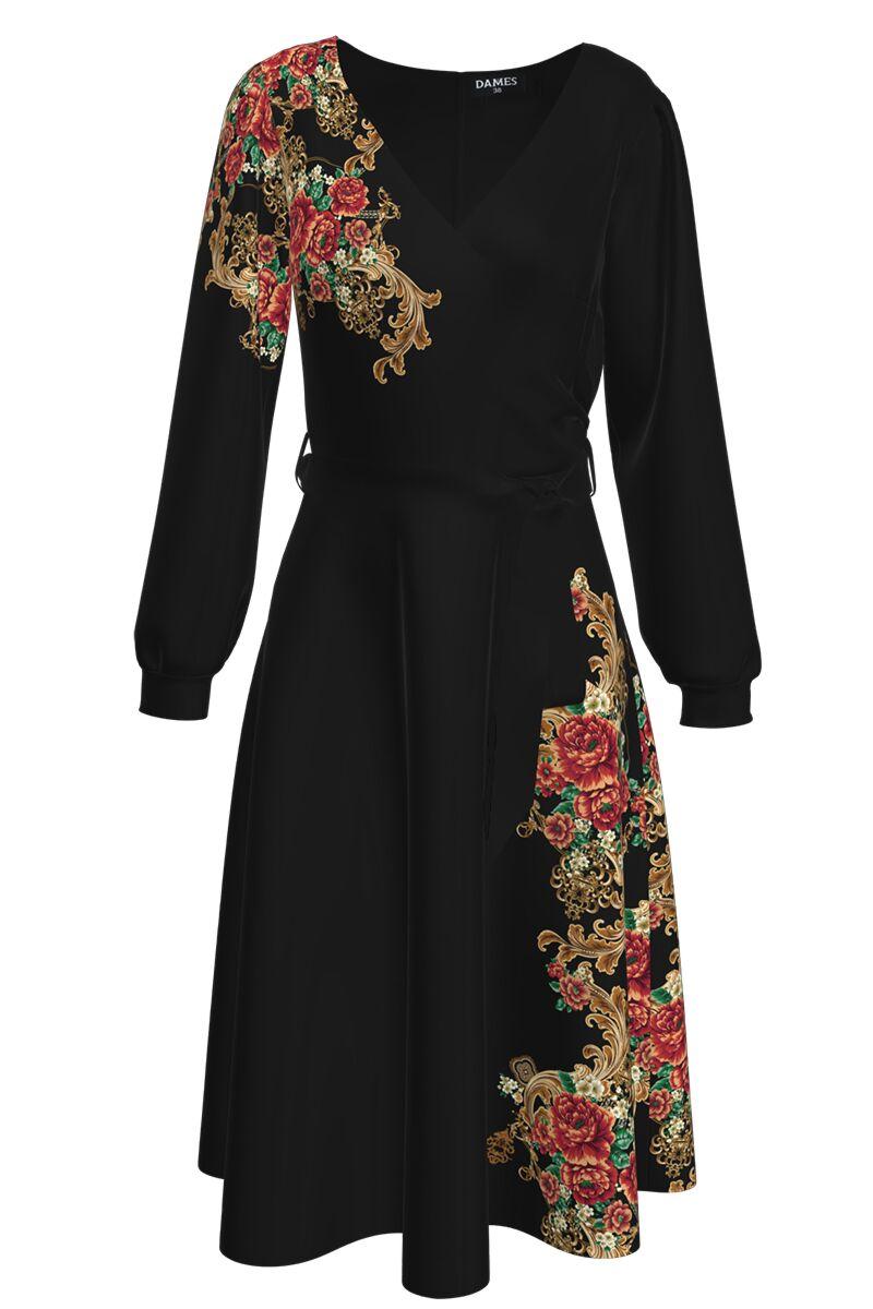 Rochie DAMES neagra eleganta cu maneca lunga si imprimeu auriu