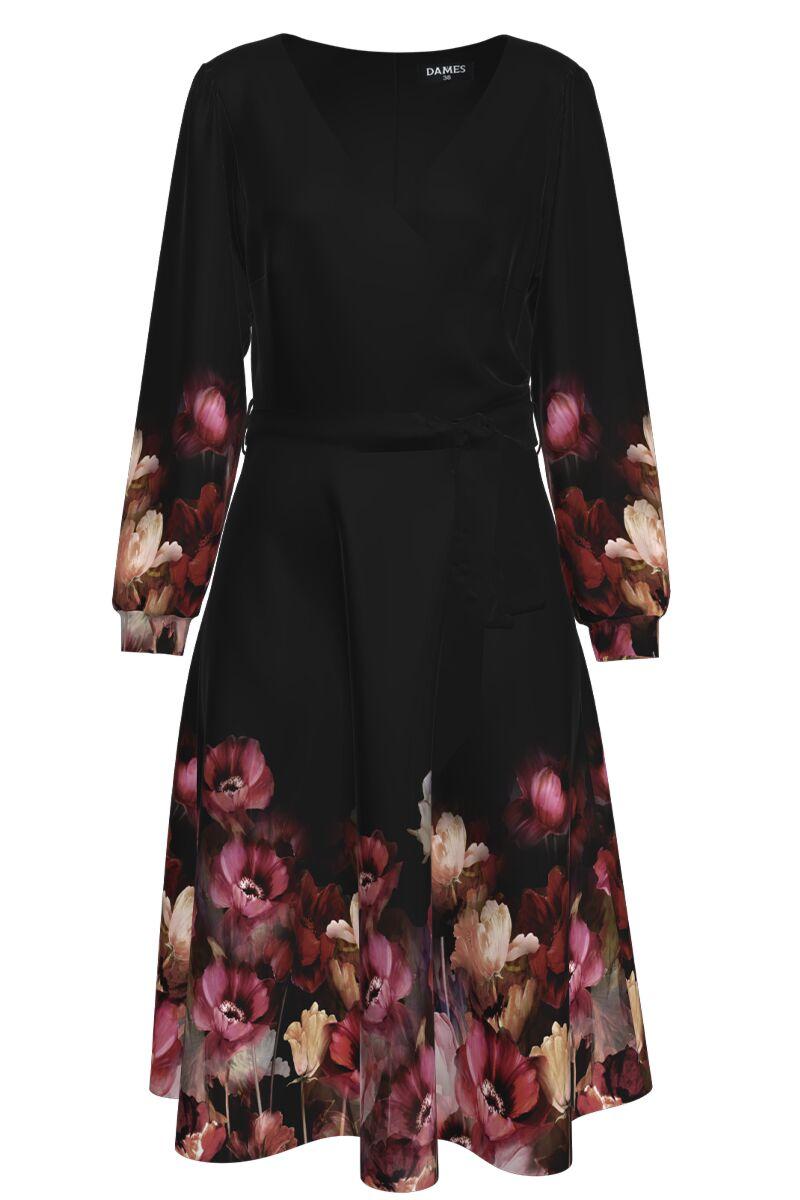 Rochie DAMES  neagra eleganta cu maneca lunga si imprimeu floral