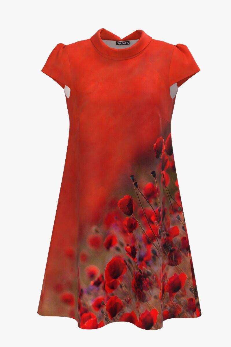 Rochie DAMES  rosu corai cu guler tip bărcuţă şi imprimeu digital maci