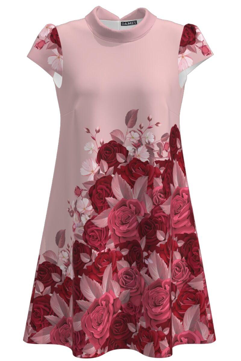 Rochie roz casual de vara cu imprimeu digital Trandafiri CMD996