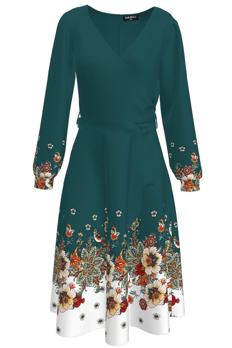 Rochie DAMES  verde cu maneca lunga si imprimeu floral
