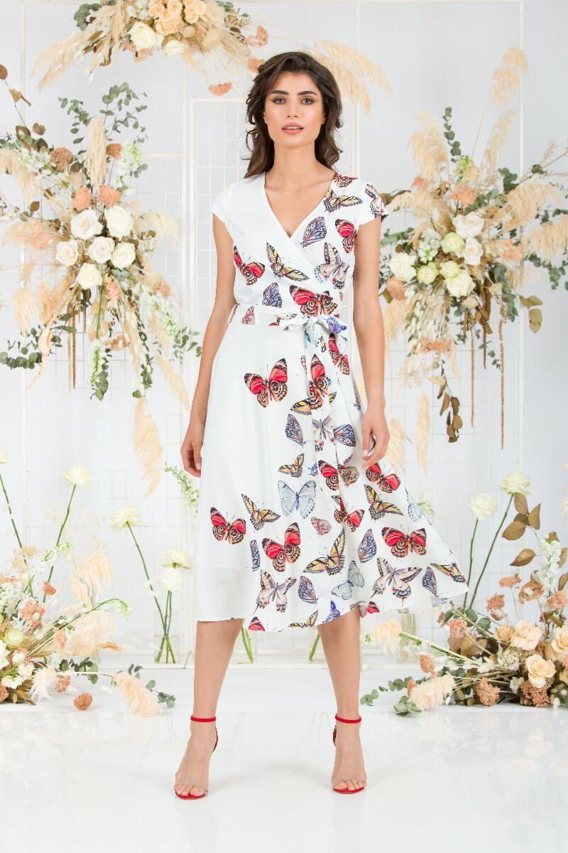 rochie eleganta DAMES alba de vara cu imprimeu fluturi