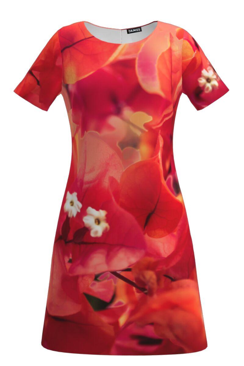 Rochie evazata imprimata digital  Flori de hartie CMD139