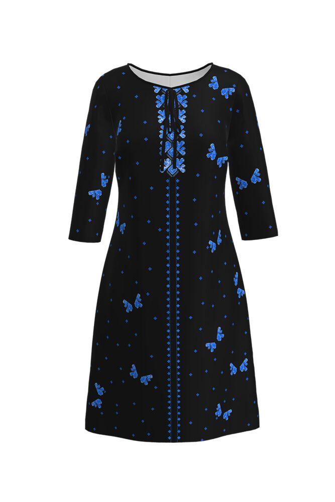 Rochie DAMES imprimata cu model traditional romanesc albastru